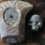 bronze pomel and silver skull, just after casting